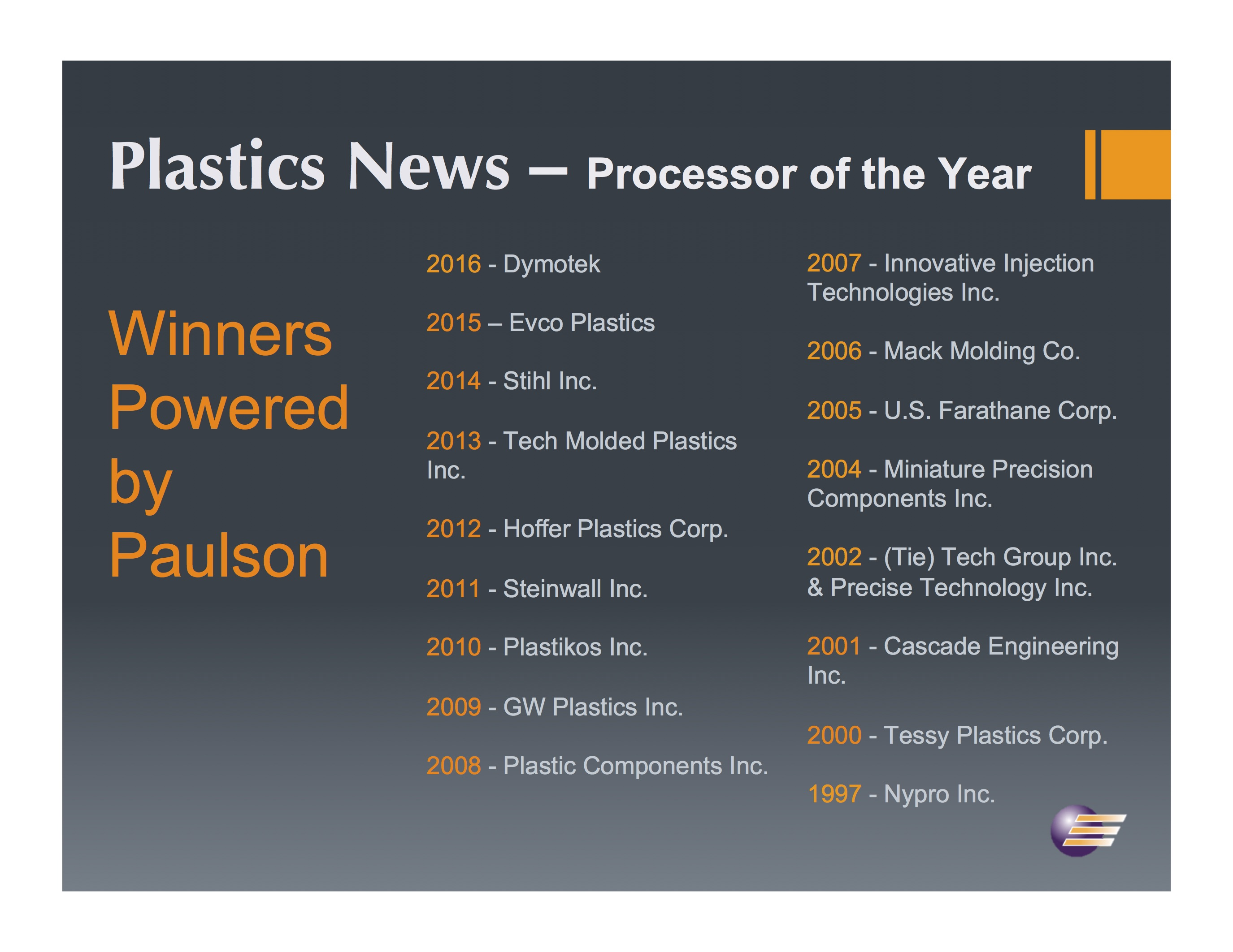 Paulson Customer Dymotek is 2017 Processor of the Year