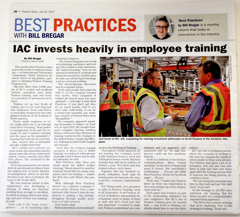 International Automotive Components Plastics News Story Paulson Training Programs